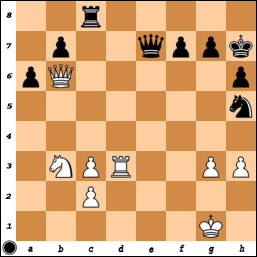 position from a Category 3 player game,fen=2r5/1p2qppk/pQ5p/7n/8/1NPR2PP/2P5/6K1]